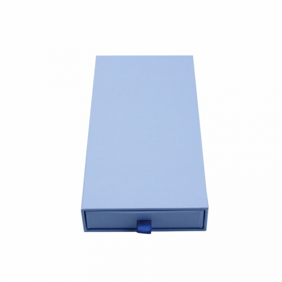 Full printed in blue color simple drawer boxes with ribbon puller