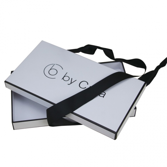 White Boxes with Lids and Ribbons