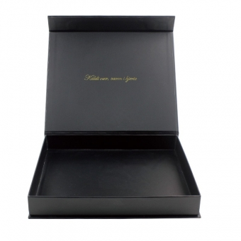 Decorative matt black box with magnetic closure