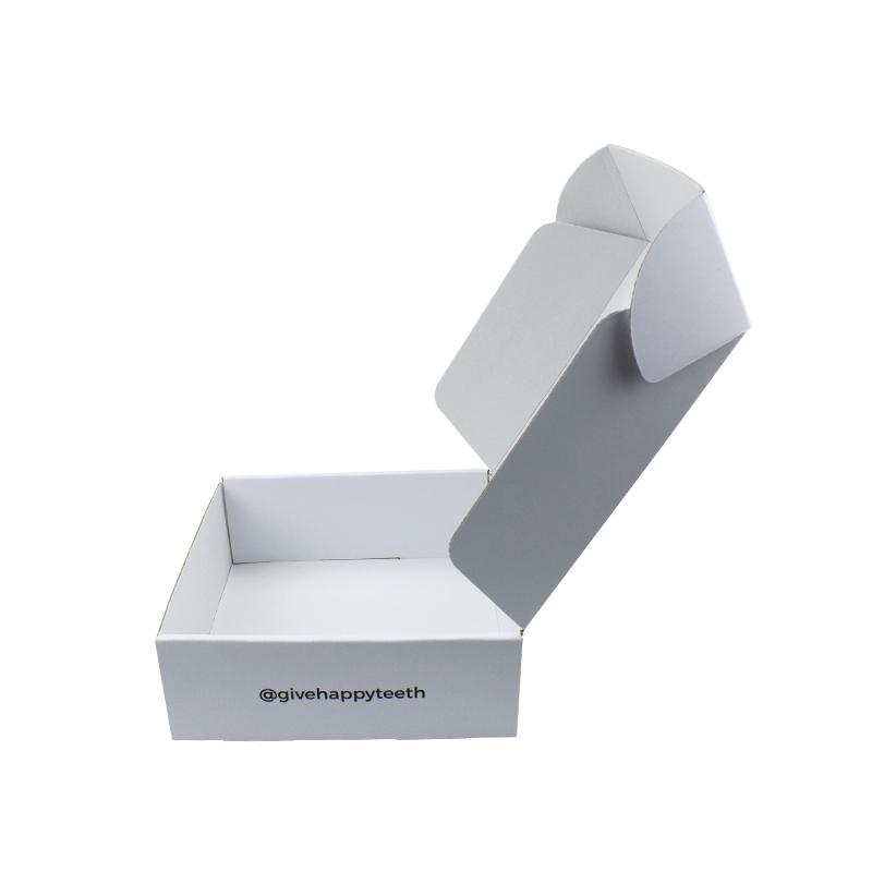 Custom large white mailer boxes with black logo text