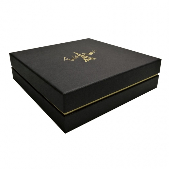 Custom black box within small box gold cuff lid and base box