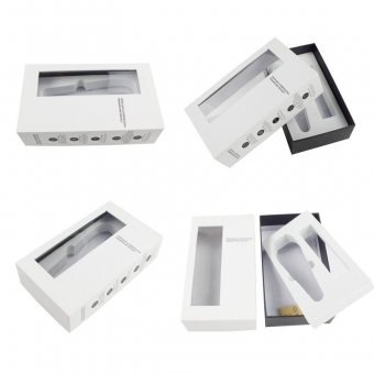 Transparent PVC lid and base gift boxes  with white EVA insert