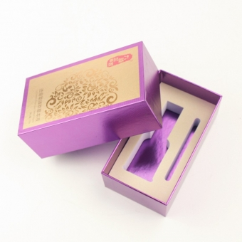 purple coloured cosmetic rectangle gift boxes with lids