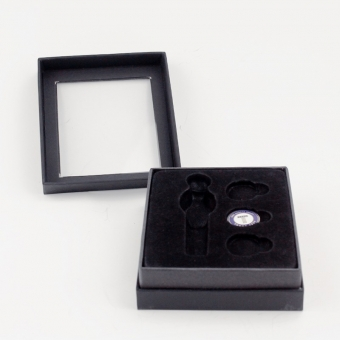 black decorative nesting cardboard box with transparent PVC lid