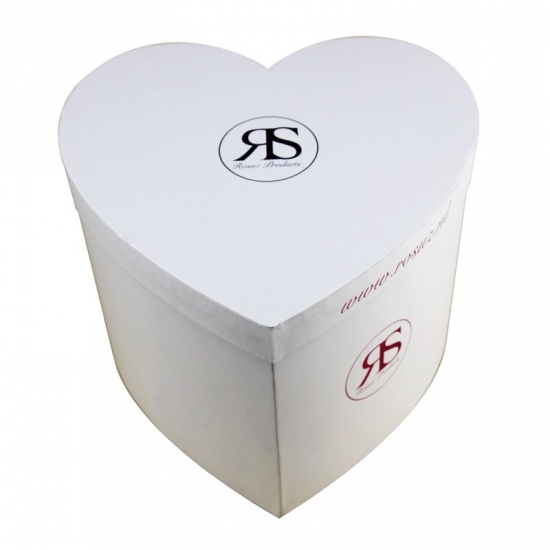 large heart-shaped plain white flower gift top lid box