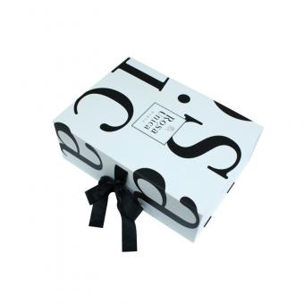 white chipboard flat pack large folding gift box with ribbon